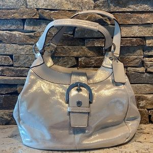 Shimmery tan buckle coach hobo bag w dust bag